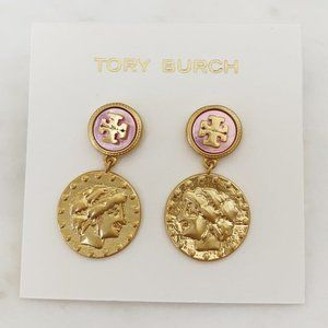 Tory Burch Logo Coin Drop Earrings